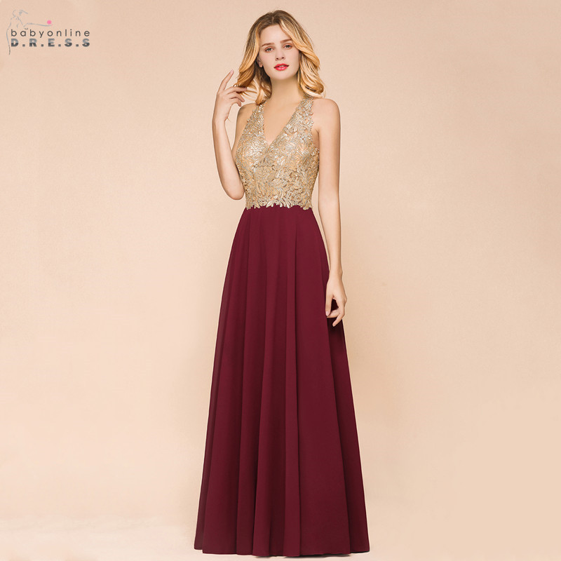 New Arrival Sexy Deep V-neck Lace Burgundy Long Evening Dress Elegant Backless A-line Evening Gowns Robe De Soiree