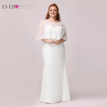 Plus Size Mother Of The Bride Dresses Ever Pretty Mermaid Lace O-Neck Elegant Wedding Party Gowns Vestido De Madrinha EP00931WH 1