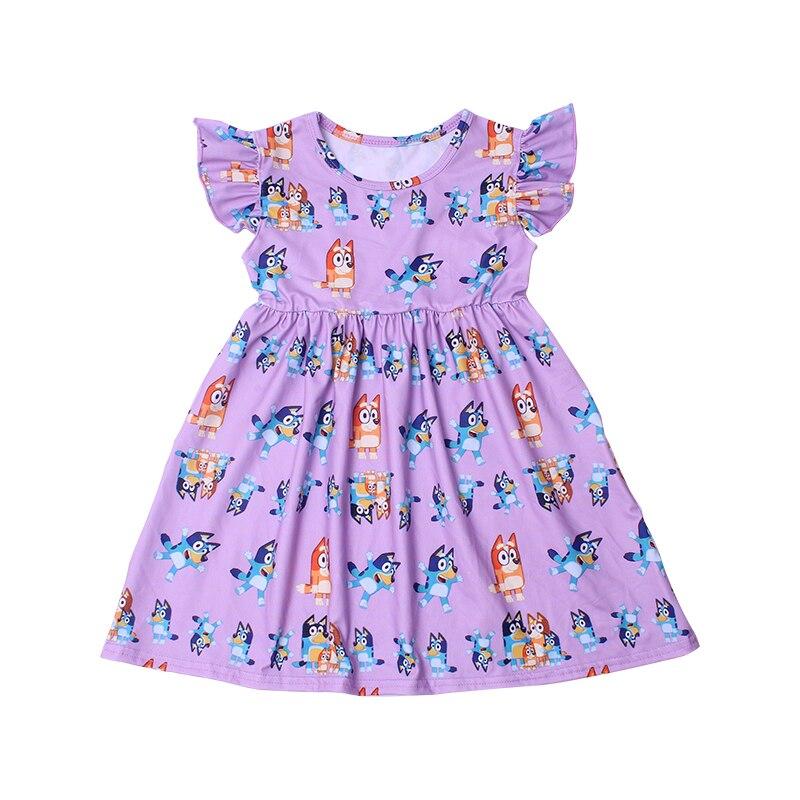 New Fashion Girls Dress Puffy Sleeve Kids Cartoon Clothing Soft Milksilk Children Birthday Party Dress Wholesales 12M to 7T 2