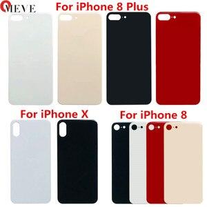 Image 1 - 10 ピース/ロット高品質ビッグホールバック交換部品 iphone 8 8 プラスバッテリードア裏表紙ための iphone ×