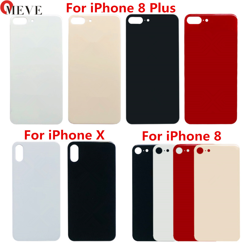 10pcs/lot High Quality Big Hole Back Glass Replacement Parts For IPhone 8 8plus Battery Cover Rear Door Housing For Iphone X