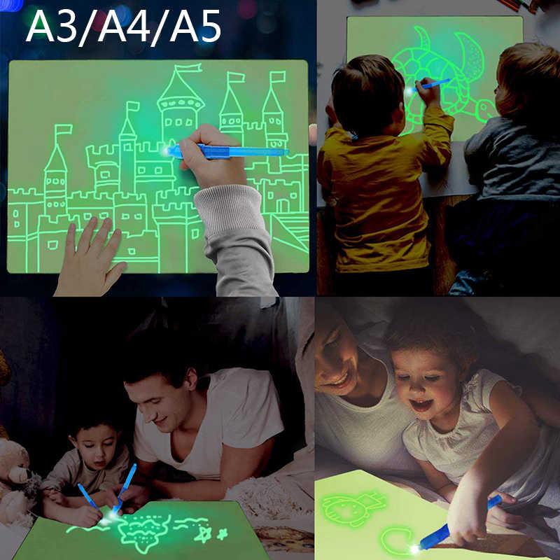 ELICE A3 Light Drawing Pad Draw with Light Painting Writing Board Educational Toys for Kids Toddlers Boys Girls Light Drawing Board for Kids Magic Pad Light up Drawing Pad for Kids with Magic Pens