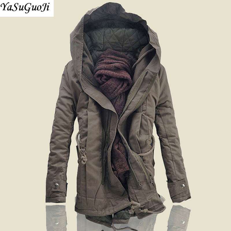 YASUGUOJI New 2019 Safari Style Mens Winter Coats and Jackets Thicken Cotton Padded Coat Men   Parka   Men Men's Hooded Jacket MF2