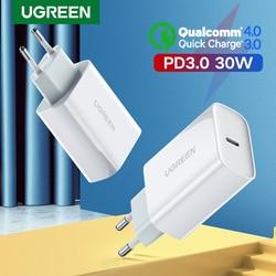 Ugreen pd carregador 30 w usb tipo c carregador rápido para iphone 11 x xs 8 macbook telefone qc3.0 usb c carga rápida 4.0 3.0 qc pd carregador