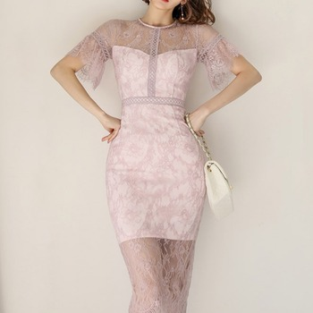 new summer 2020 han edition cultivate temperament splicing lace hip skirt dress female perspective of bud silk bag