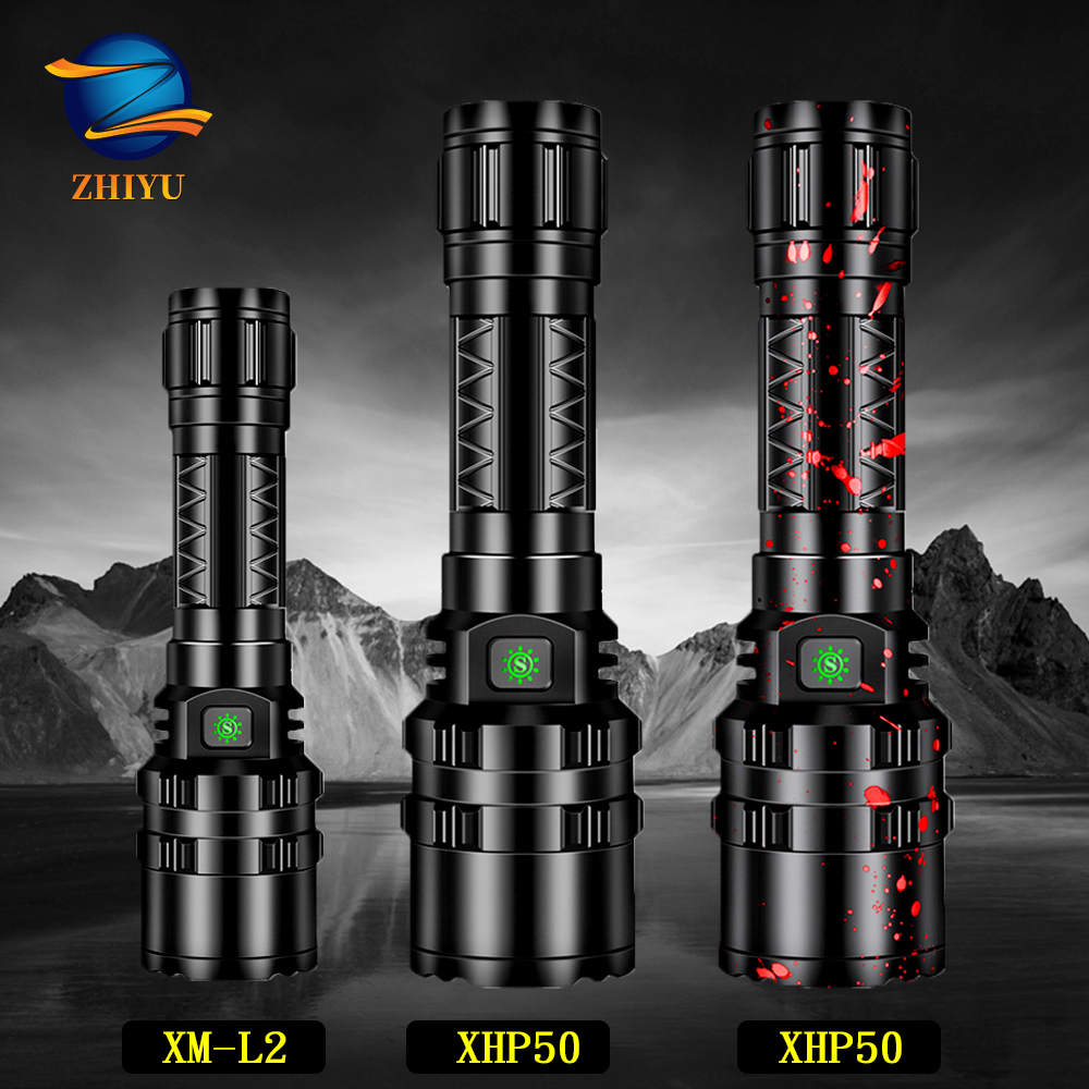 ZHIYU XHP50 LED Flashlight Rechargeable 8000LM LED L2 Tactical Torch Super Bright Hunting Light Waterproof For 18650 Battery