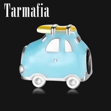 925 пробы серебряные небесно-голубые дорожные фантазийные бусины в виде автомобилей для изготовления ювелирных изделий подходят для Pandora очаровательные серебряные 925 оригинальные браслеты DIY