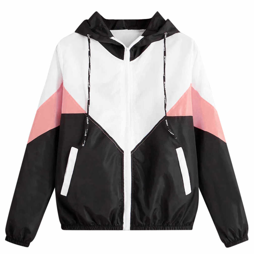 Coat Women Autumn Long Sleeve Patchwork Hooded Top Blouse Coats and Jackets Women Windbreaker Clothes chaqueta mujer Dropship910