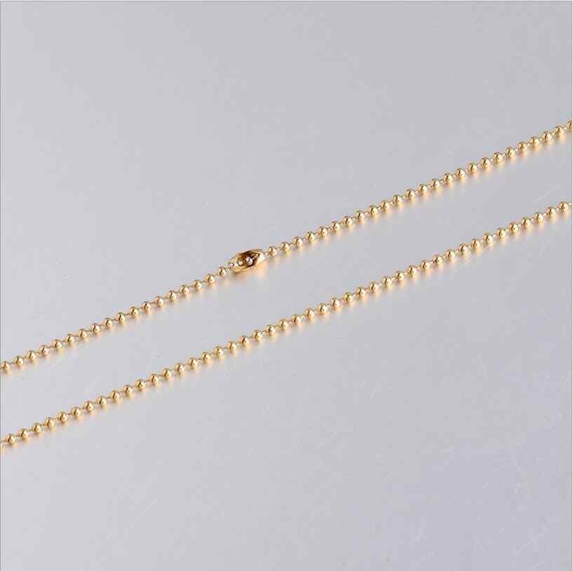 5 pçs/lote 1.5 milímetros Bola Contas Cadeia Colar de Ouro de Aço Cor de Rosa de Ouro de Aço Inoxidável Colar DIY Fazer Jóias 50cm