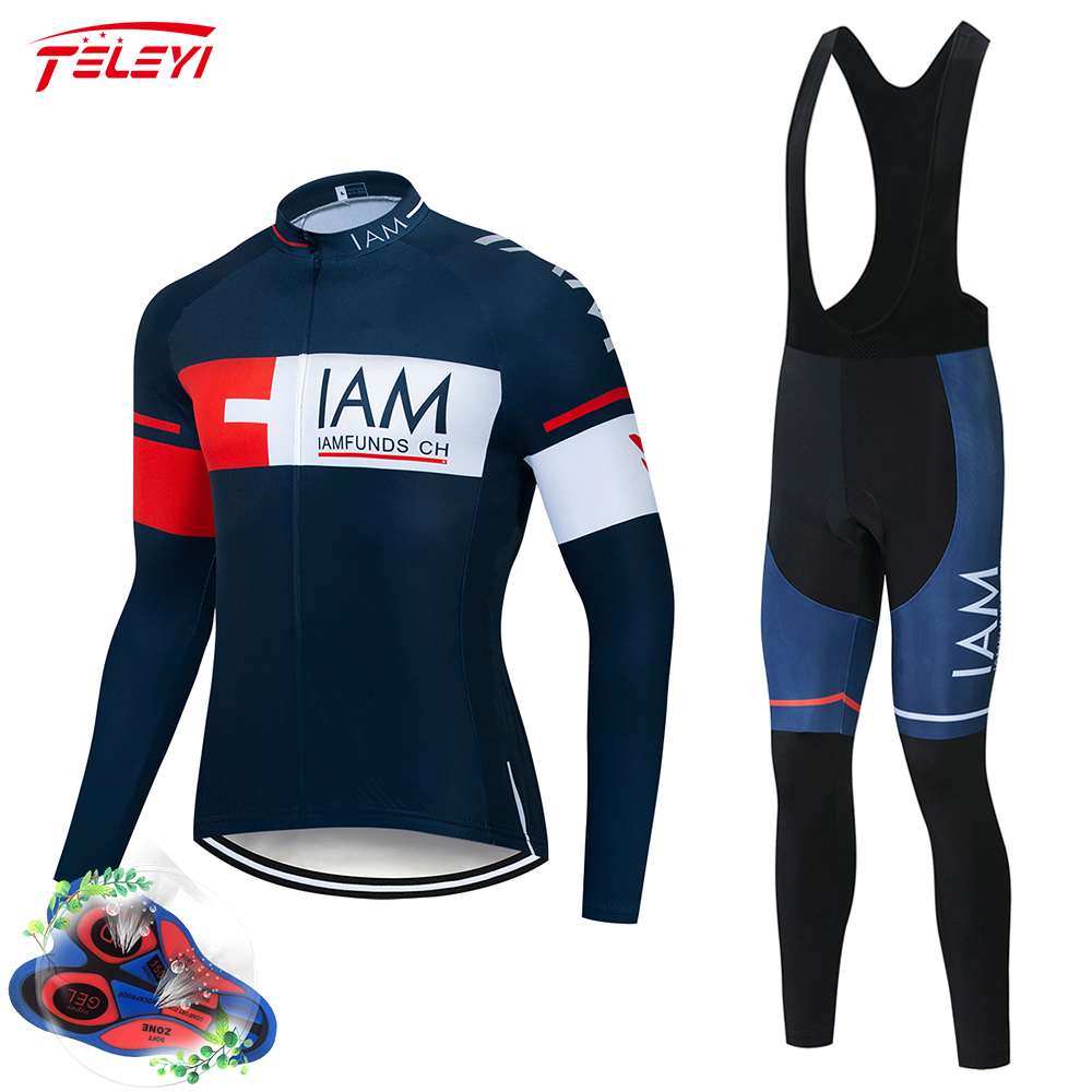 2019 IAM Long Sleeve Pro Cycling Jersey Set Spring MTB Bike Wear Clothes Bicycle Clothing Ropa Maillot Ciclismo Cycling Set