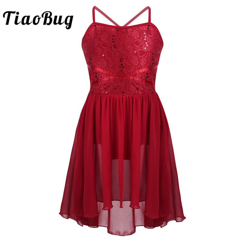 <font><b>TiaoBug</b></font> Kids Girls Lyrical Dance Costumes Spaghetti Straps Sequins Lace High-Low Hem Chiffon Ballet Leotard Figure Skating Dress image