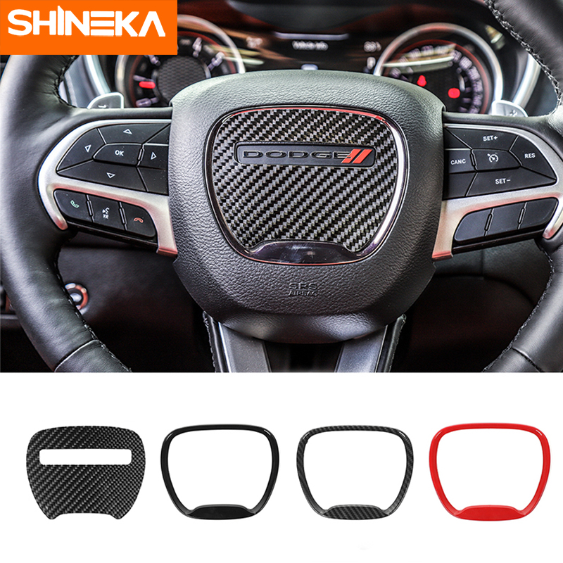 Carbon Fiber Accessories For Dodge Challenger 2015  Car Steering Wheel Decor Cover Stickers For Durango 2014  For Charger 2015