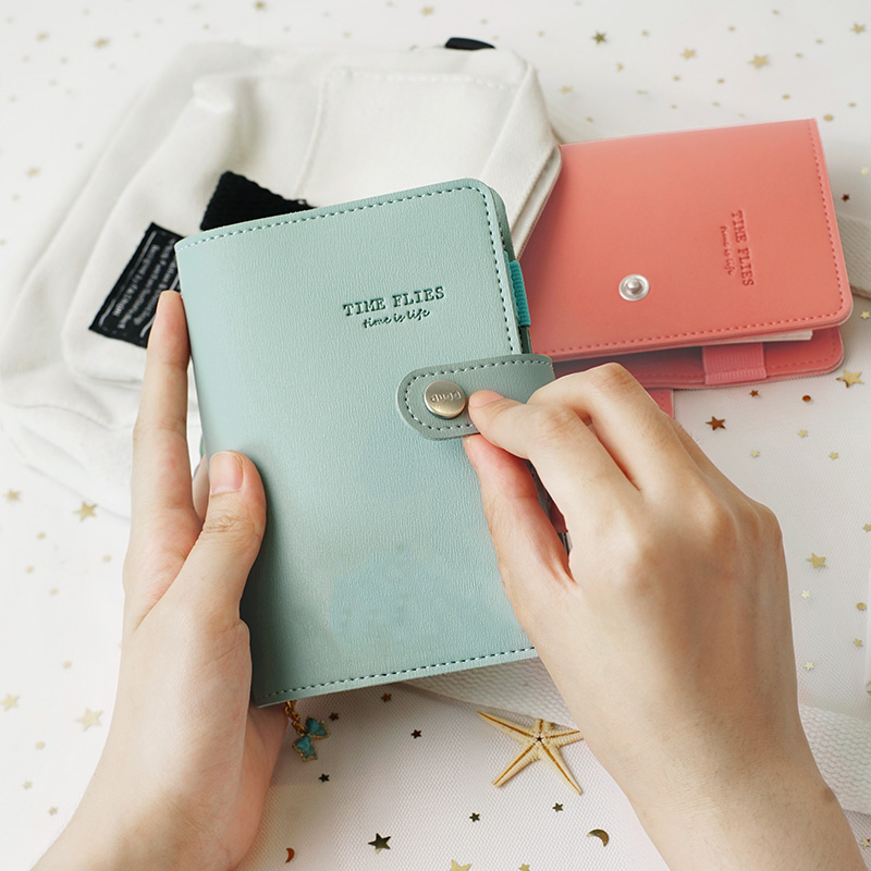 A7 Macaron leather spiral notepad PU Leather Mini Pocket <font><b>notebook</b></font> portable stationery travel journal book image
