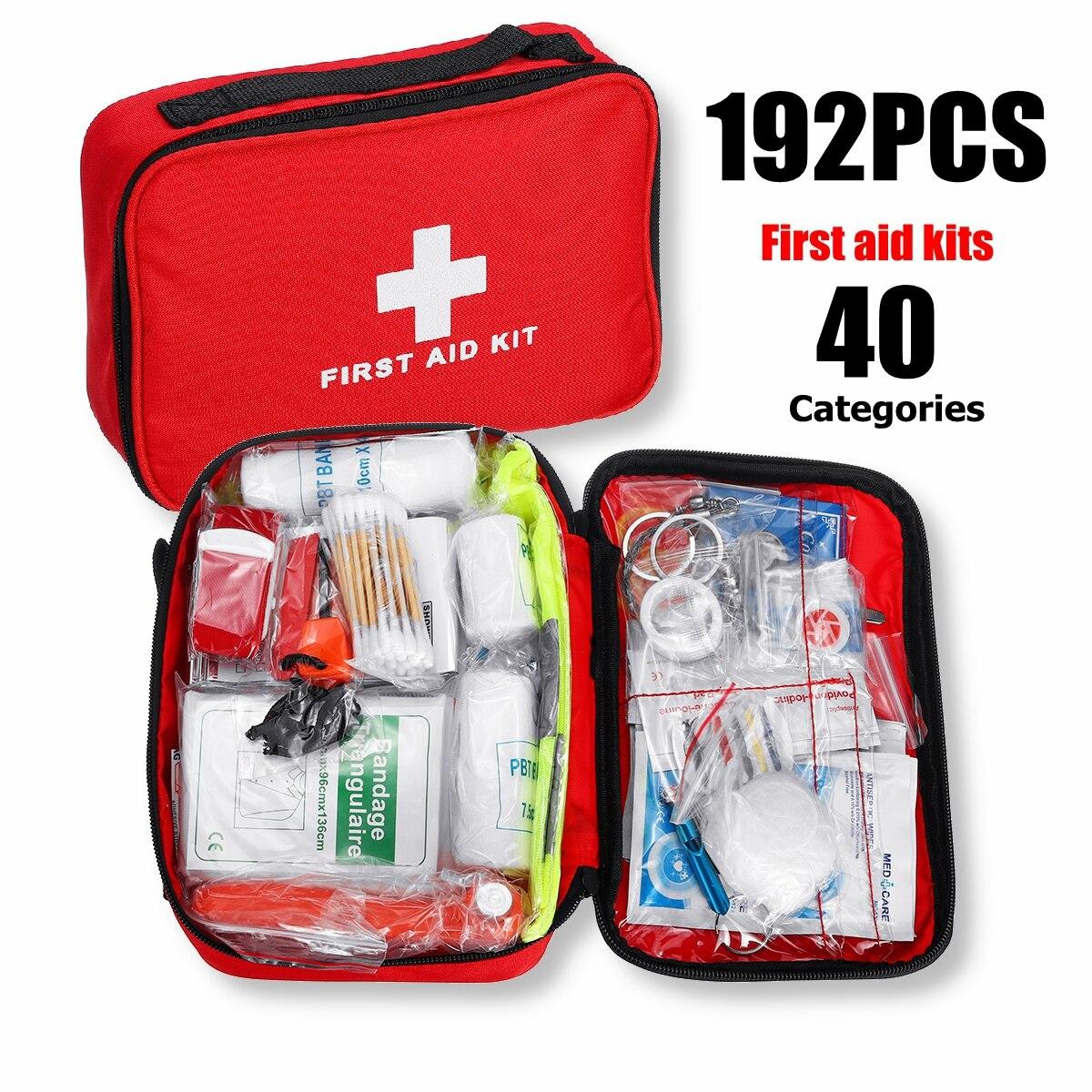 Mini Außen Erste Hilfe Kit 40 kategorien 192Pcs Tragbare Notfall Kits Reise Paket Für Medikamente Camping Medizinische Tasche