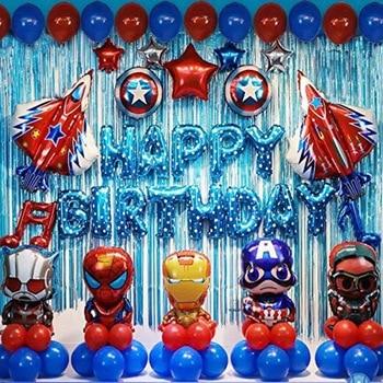 Hot 1 Sets Avengers  Foil Balloon Superhero Helium Kids Toys Spiderman Captain America Child Birthday Party Supplies