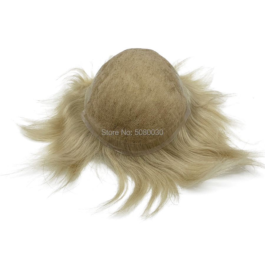 Indian Hair French Lace Toupee With PU Human Hair Men Toupee Q6 Base For Bald Men