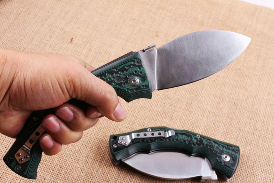 Tools : cold folding knife 440C blade Mikata handle Green tactical outdoor camping Survival Hunting Pocket Knife EDC hand tool