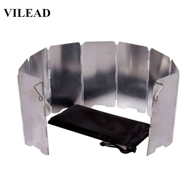 VILEAD 9 Plate Foldable Aluminum Outdoor Stove Wind Shield Gas Burner Windshield Wind Protector Picnic Camping Stove Windscreen(China)