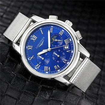 Brand Fashion Classic Quartz Mens Watch 2020 Chronograph Rubber Belt Date Wristwatch Rose Gold Metal Watch Men   1033