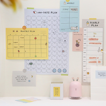 New 2020 100-day Plan Progress Punch Card Monthly Schedule Schedule Schedule Wall Stickers Wall Sticker Poster Set Day Note Plan monthly schedule design wall sticker