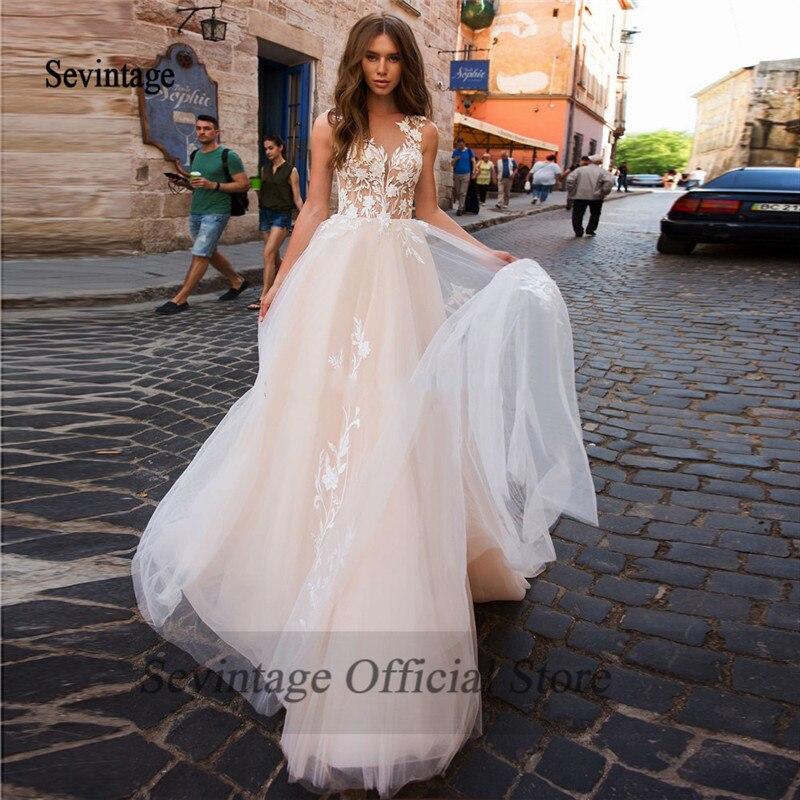Sevintage Boho Wedding Dresses Plus Size A Line Lace ...