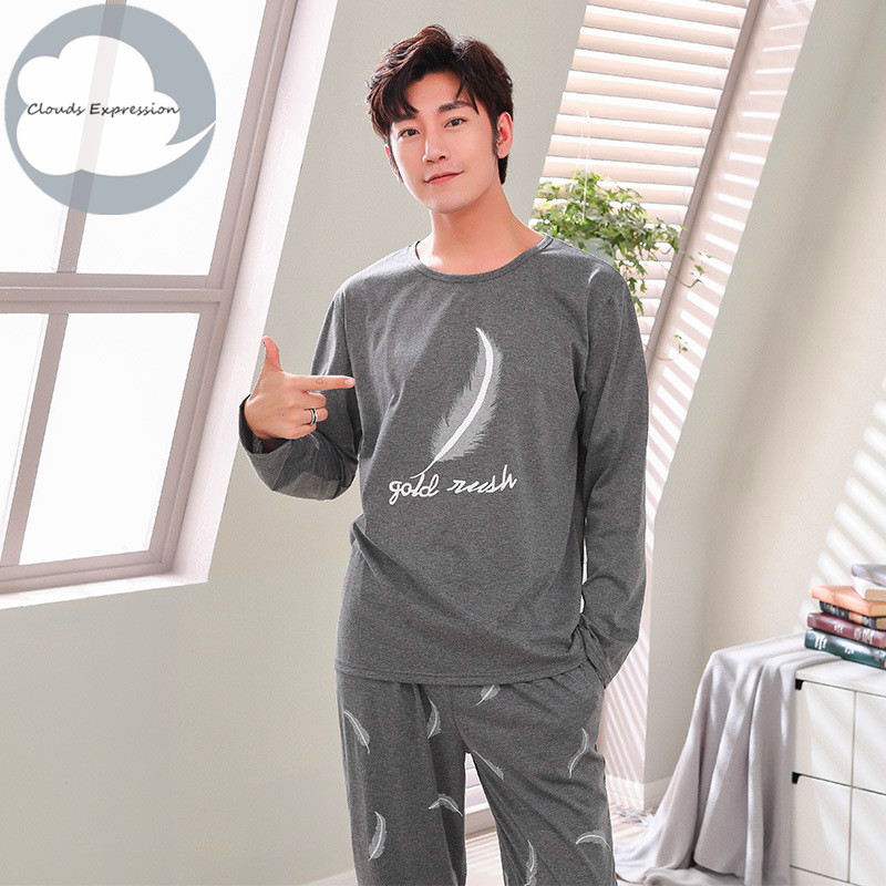 Autumn Winter Knitted Cotton Cartoon Men's Pyjamas Couple Pajamas Set Casual Male Sleepwear Pyjamas Night Pijamas Homewear 4XL