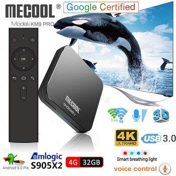 KM9 Pro Android 9,0 Dispositivo de TV inteligente de Control de voz S905X2 4GB DDR4 RAM 32GB ROM 2,4G/5G WiFi Bluetooth 4K TV caja Mecool Set Top Box