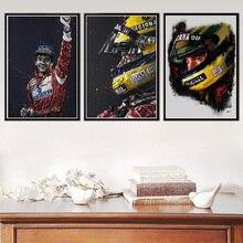 Ayrton Senna F1 fórmula estrella legendaria campeón carrera coche cartel pared arte impresiones de la lona pintura Vintage moderno para casa decoración de la habitación