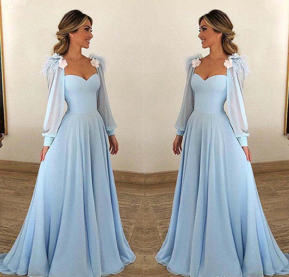 2020 Mother of the Bride Dresses Sky Blue Long Sleeves Formal Godmother Evening Party Guests Gown Plus Size Custom Made