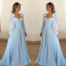 Dresses Guests-Gown Long-Sleeves Evening-Party Mother-Of-The-Bride Plus-Size Formal Sky-Blue