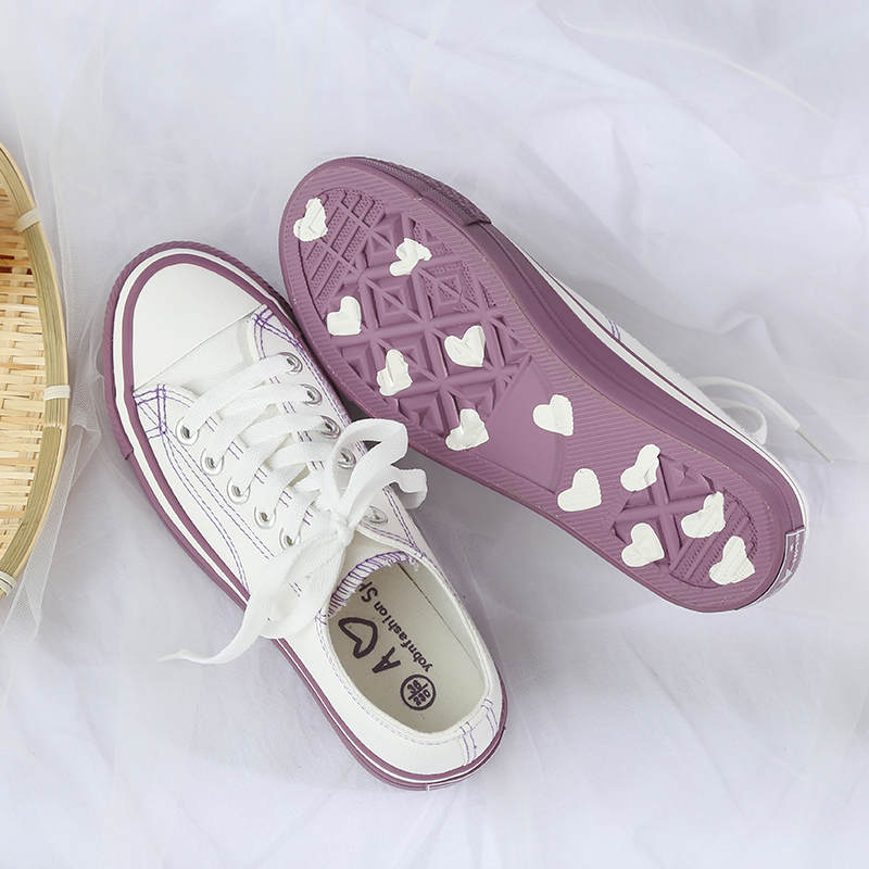 Vulcanized Shoes Women Flats Comfortable Sneakers Rubber Sole Canvas Shoes Heart Shape Woman Footwear Leisure Tenis Feminino in Women 39 s Vulcanize Shoes from Shoes
