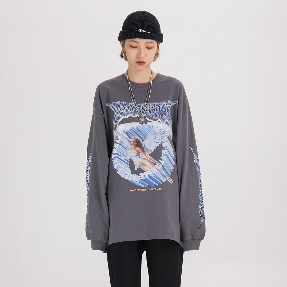 Women Long Sleeve Retro Graphic Tees Top Angel Shirt Clothes Oversized T Shirt 2020 Women Clothing Fashion Spring Streetwear