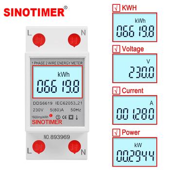 Jednofazowy dwuprzewodowy wyświetlacz LCD cyfrowy watomierz zużycie energii licznik elektryczny kWh AC 230V 50Hz elektryczna szyna Din tanie i dobre opinie SINOTIMER Elektryczne 99999 9 230 v 230V AC 78 5*65 6*36 5 mm DDS6619 -10 to 50 C 50A-79A real Voltage real Current real Power total Energy KWH