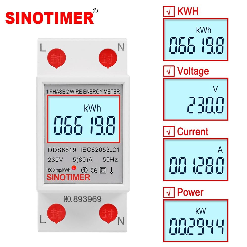 Однофазный двухпроводной ваттметр с ЖК-дисплеем Потребляемая мощность Электрический измеритель кВтч переменный ток 230 В 50 Гц Электрически...