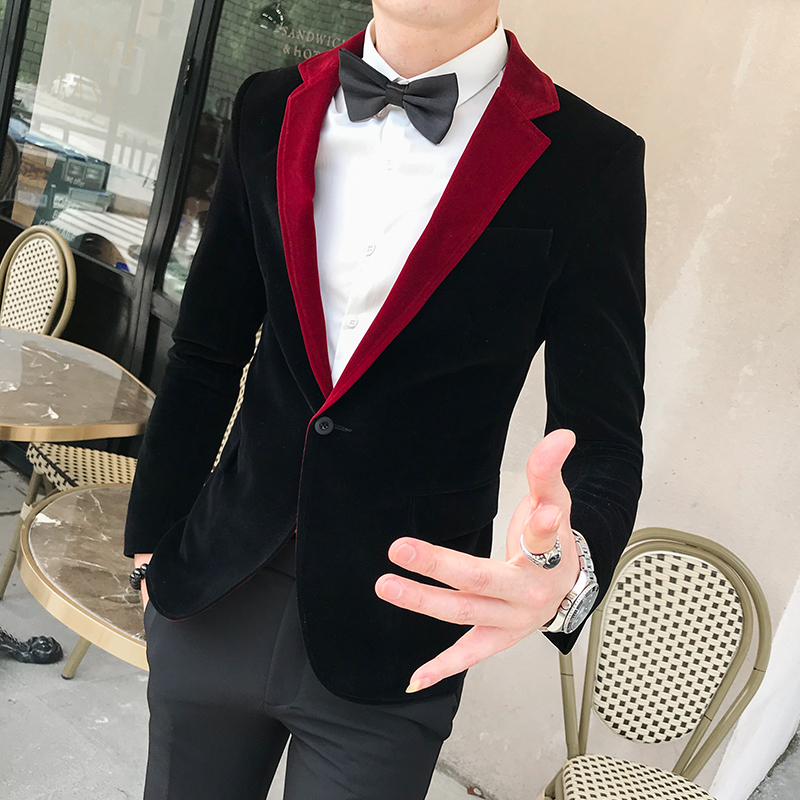 Fashion Stage Jackets Designer Mens Indian Suits Red Velvet Single Suit New Abrigo Casual Hombre Blazers Mens Slim Blazers