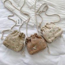 Summer Straw Bag Female 2020 New Korean Version of The Wild One-shoulder Slung Fashion Woven Lace Bucket Bag Bolsos Mujer