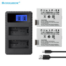 LP-E8 LP E8 Batter for Canon EOS KissX5 X4 X6 X7 Rebel T3i T2i T4i T5i 600D 550D 650D 700D 1500Mah LPE8 Camera Batteries Charger