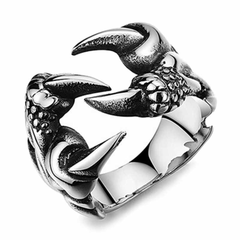 1PC Perhiasan Biker Cincin Stainless Steel Cakar Naga Cincin untuk Pria Baru Remaja Punk Rock Pria Vintage Gothic Size7 8 9 10