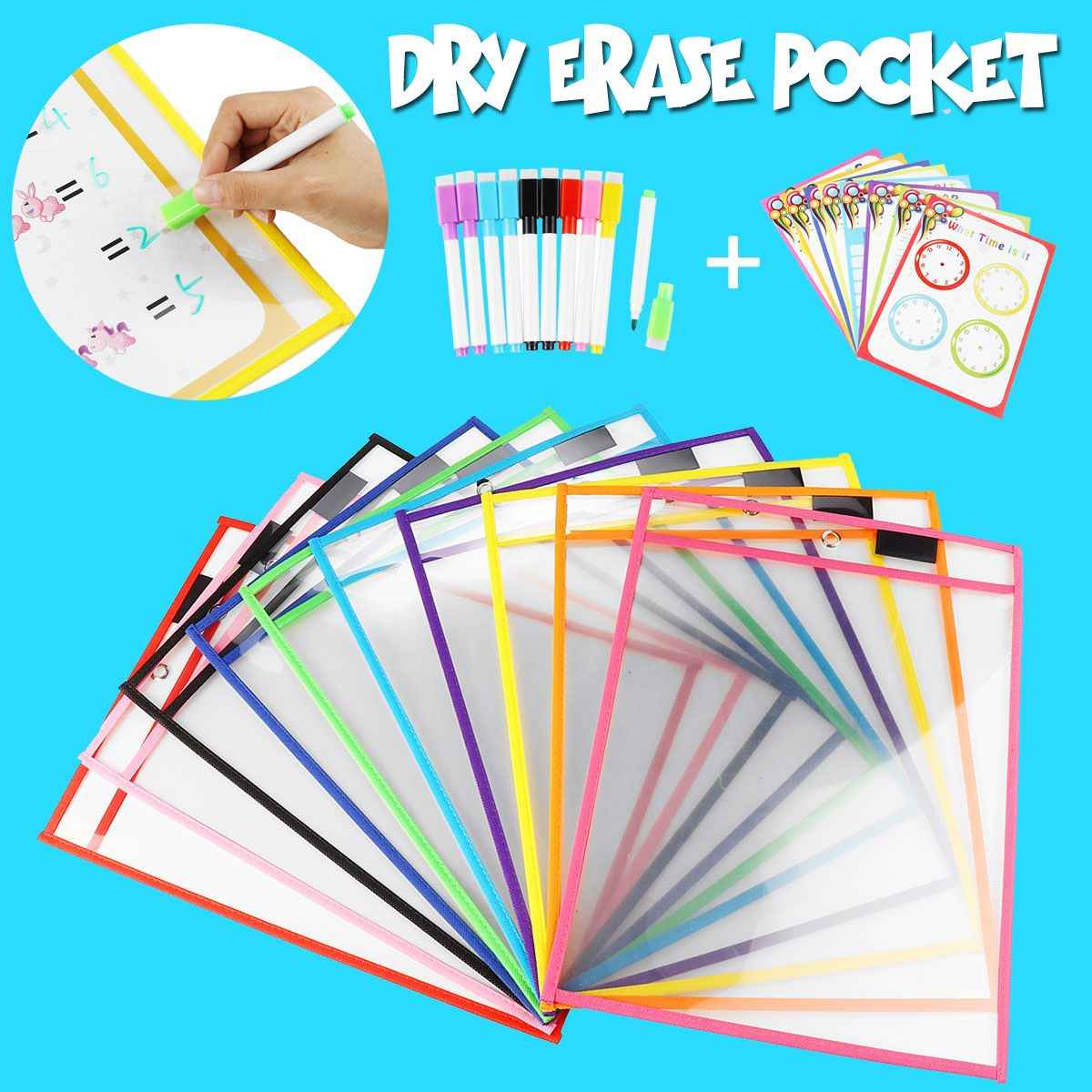 KICUTE 10/20/28pcs Transparent Dry Erase Pocket Reusable With Pens Environmental Protection School Students Kids Practice Tools