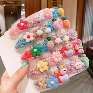 10Pcs/Set Cute Fruit Quicksand Snap BB Clips Girl Colorful Rainbow Animal Hairpins Kids Hair Grip Side Barrettes School Headwear