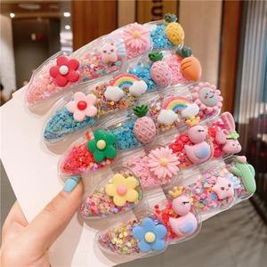 10Pcs/Set Cute Fruit Quicksand Snap BB Clips Girl Colorful Rainbow Animal Hairpins Kids Hair Grip Side Barrettes School Headwear