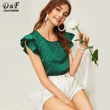 Dotfashion, зеленая блузка в горошек с рукавом-бабочкой, лето, милая корейская модная одежда с рукавом-крылышком, Женские топы и блузки