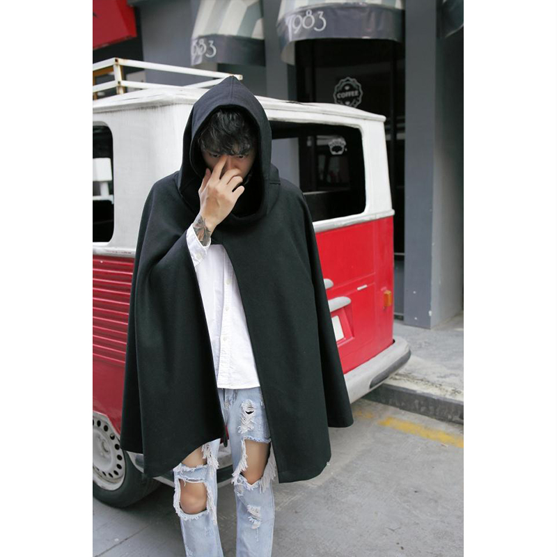 M-4XL winter hooded woolen coat in the long section loose shawl woolen coat men's cape cape large size men's coat fat people wea