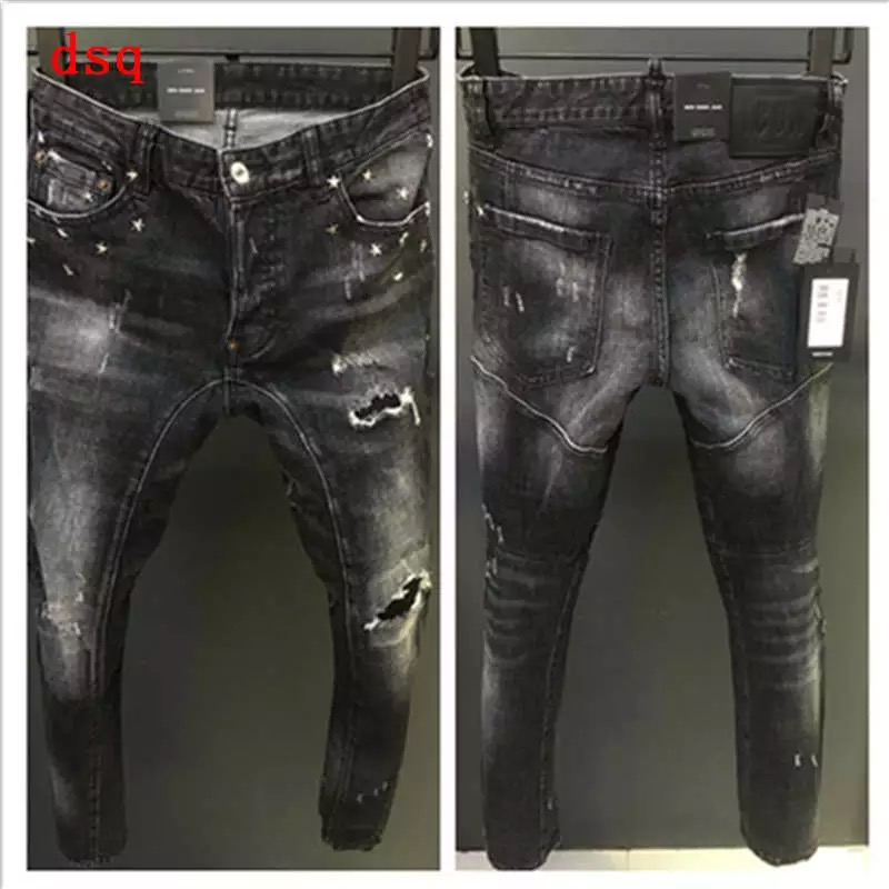 NEW Men Jeans Ripped For Men Skinny DSQ D2 Jeans Pants Men Jeans Zipper Outwear Man Pants 1 Order