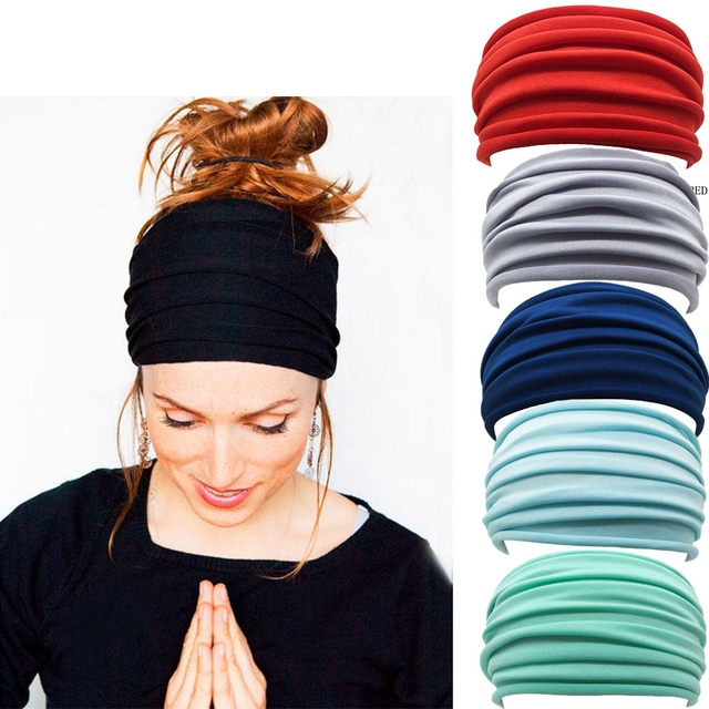 13 Colors Nonslip Elastic Folds Yoga Hairband Fashion Wide Sports Headband Running Accessories Summer Stretch Hair Band 1