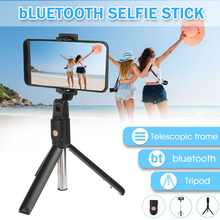 3 in 1 Wireless bluetooth Selfie Stick Mini Tripod for iphone/Android Handheld Foldable Extendable Monopod with Remote Control(China)