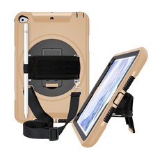 For iPad Mini 4 5 Case with Pen Holder Protective Cover with 360° Rotation Stand+Shoulder Hand Strap for iPad Mini5 2019 FTL02 все цены