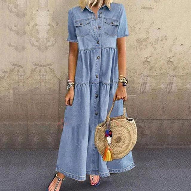 Denim Dress Retro Women Short Sleeve Turn Down Collar Pockets Button Long Loose Denim Dress Pockets Button Long Loose Plus size 3