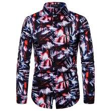 2019 New Luxury Large Size Mens Lapel Long-sleeved Shirt Digital Printing Fashion Trend Slim Ou Code