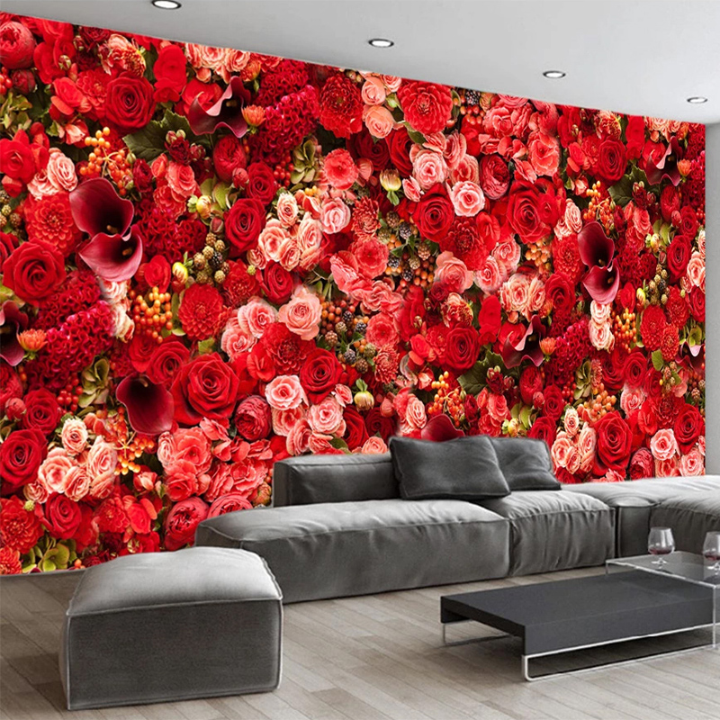 Custom 3d Wallpaper Modern Romantic Red Rose Flowers Photo Wall Murals Wedding House Living Room Bedroom Background Wall Papers Wallpapers Aliexpress